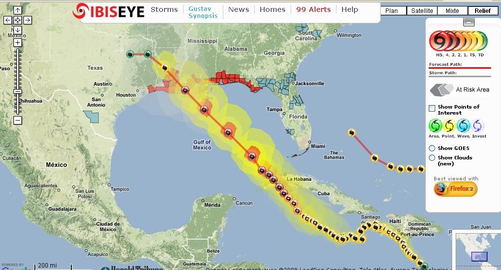 Après Haiti,Cuba,Sauve qui peut à la Nouvelle Orléans avant l'arrivée de Gustav Trajectoire1