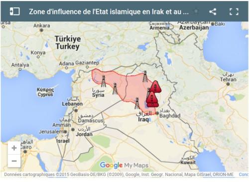 Zone d'influence de l'Etat islamique en Irak et au Levant (EIIL) de Camille Caldini