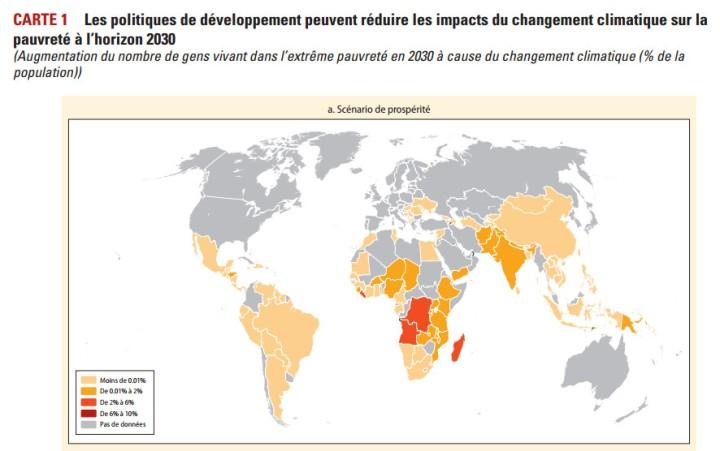 Les politiques de développement peuvent réduire les impacts du changement climatique sur la pauvreté à l'horizon 2030 (Augmentation du nombre de gens vivant dans l'extrême pauvreté en 2030 à cause du changement climatique (% de la population)