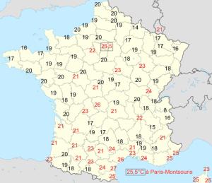 Carte des températures minimales relevées en France le 12 août 2003 d'après Météo-France.