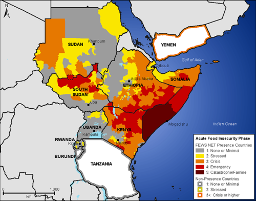 The FEWS projection of the 2011 East Africa drought for October-December, using the IPC scale.