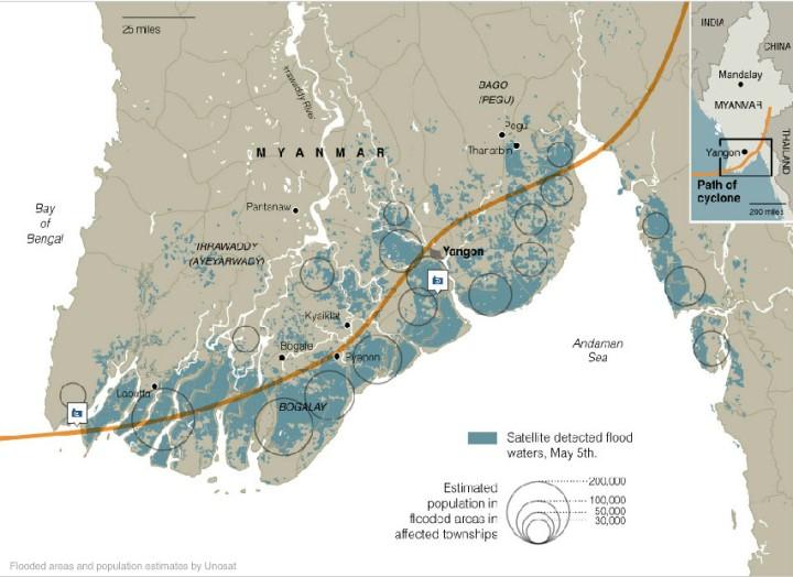 Estimations des zones inondées et des populatio-ns affectées - Cyclone Nargis - 2008 - UNOSAT