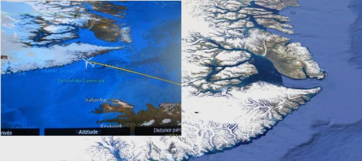 Montage Google Maps et photo d'écran à bord du vol UA 984 CDG-SFO le 24 Octobre 2015