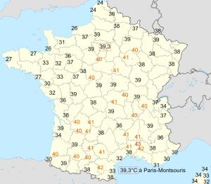 Carte des températures maximales relevées en France le 12 août 2003 d'après Météo-France.