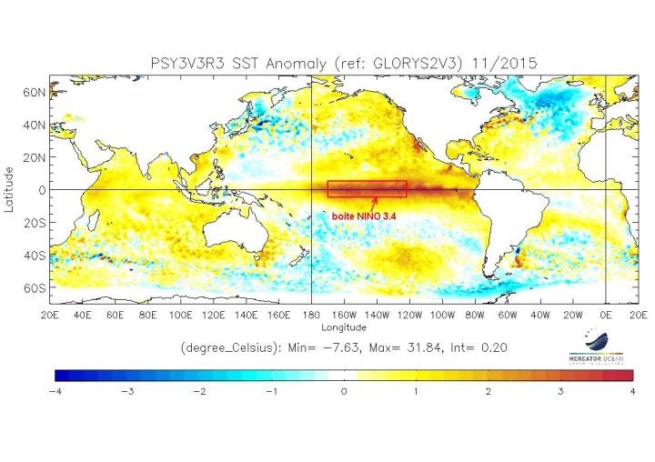 Figure 1 : Anomalies de température de surface de l'océan en novembre 2015 en °C par rapport à la normale 1992-2013 (source : Mercator Océan). Le phénomène El Niño est clairement visible dans l'océan Pacifique au niveau de l'Equateur (eaux plus chaudes que la normale du jaune au rouge). L'océan indien est également entièrement plus chaud que la normale. A noter la position de la boite Nino3.4 qui sert à la surveillance du phénomène El Niño