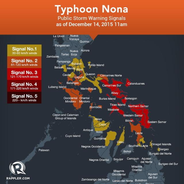 Carte des Alertes Typhon Melor (Nona) aux Philippines