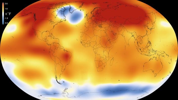 2015 a été l'année la plus chaude depuis la tenue de registres moderne a commencé en 1880, selon une nouvelle analyse de l'Institut Goddard de la NASA pour les études spatiales. L'année de tous les records poursuit une tendance à long terme de réchauffement - 15 des 16 années les plus chaudes ont maintenant eu lieu depuis 2001. Crédits: visualisation scientifique Studio / Goddard Space Flight Center
