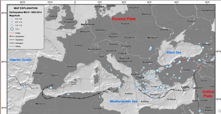 Carte tectonique de la région méditerranéenne - Source USGS