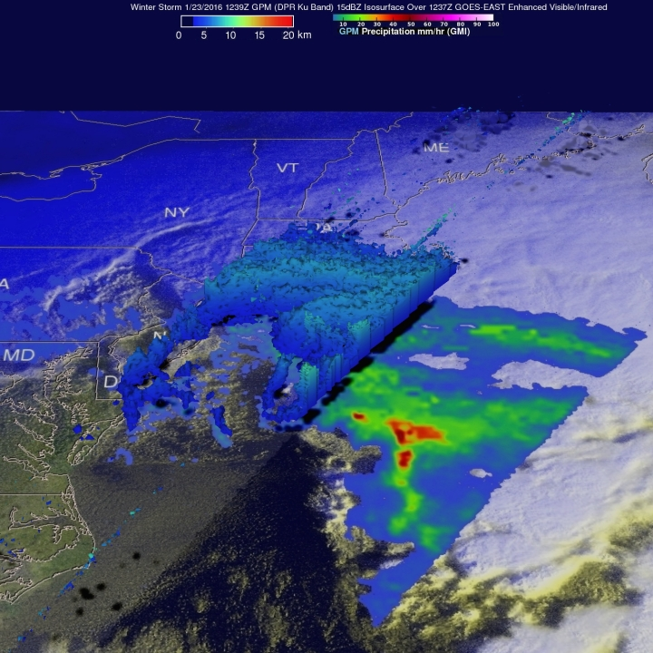 On Jan. 23, at 7:39 a.m. EST the GPM core observatory saw massive amounts of moisture being transported from the Atlantic Ocean over states from New York westward through West Virginia. Credits: NASA/JAXA/SSAI, Hal Pierce