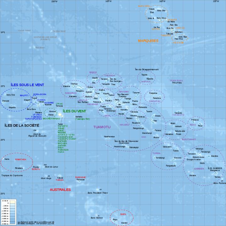 Carte topographique de la Polynésie française, en français, avec les noms des subdivisions (communes et archipels) - L. Claudel  - Wikimedia Commons