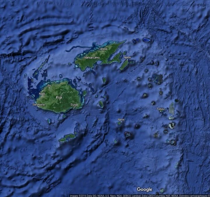 Carte de l'archipeldes Fidji (Google Maps)