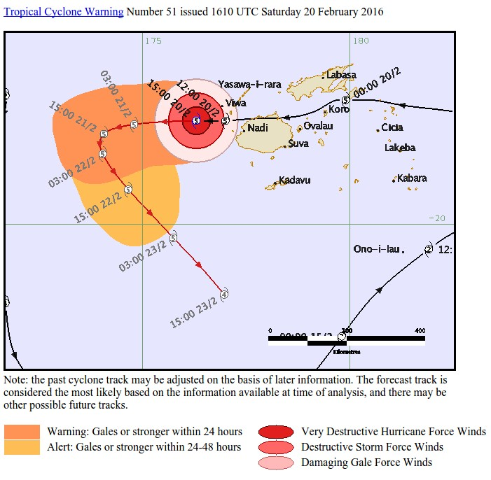 Carte de la Trajectoire du cyclone Wilson Source : RSMC Nadi Tropical Cyclone Warning Centre