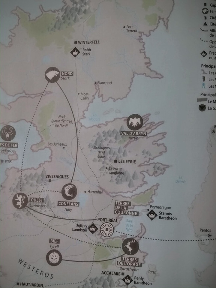Extrait de la carte du royaume de Game of Thrones - Magazine CARTO