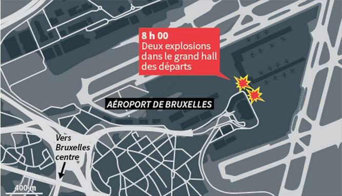 Carte des attentats de Bruxelles - aéroport international de Bruxelles Zaventem - Infographie Le Monde