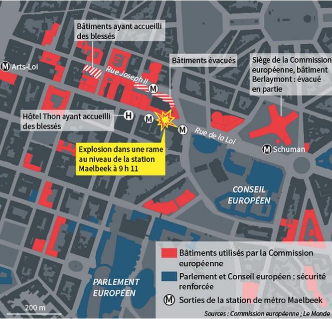 Carte des attentats de Bruxelles - station de métro Maelbeek - Infographie Le Monde