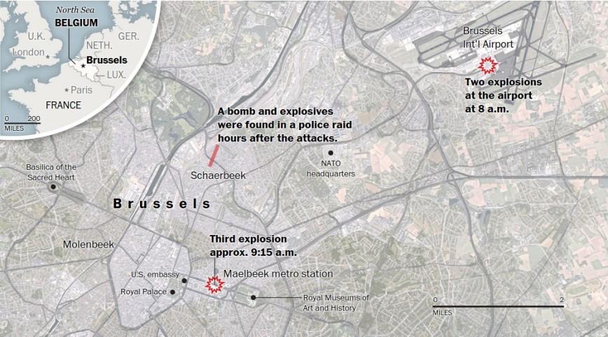 Brussels attacks maps - Source : The Washington Post - Associated Press, staff reports. By Lazaro Gamio, Laris Karklis, Denise Lu, Tim Meko, Ted Mellnik, Kevin Schaul, Stephanie Stamm, Samuel Granados and Kat Downs. Published March 22, 2016.