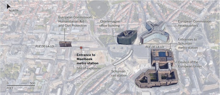 Brussels attacks maps - Source : The Washington Post - Associated Press, staff reports. By Lazaro Gamio, Laris Karklis, Denise Lu, Tim Meko, Ted Mellnik, Kevin Schaul, Stephanie Stamm, Samuel Granados and Kat Downs. Published March 22, 2016.