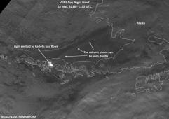 Mardi 28 mars 2016 - Image VIIRS montrant les coulées de laves et une partie du panache du Pavlof en Alaska - NOAA/NASA