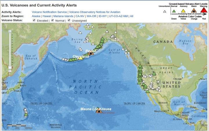 Localisation des volcans d'Alaska et alertes - USGS