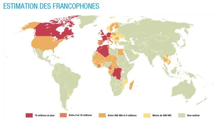 Estimation des francophones dans le monde