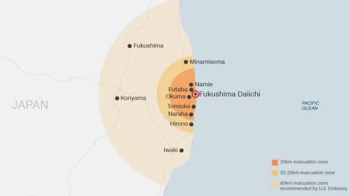 Zones dévacuation autour de la centrale nucléaire de Fukushima Daiichi - Source CNN