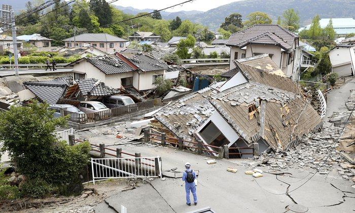 A residential area of Mashiki Photograph: Yusuke Ogata/AP