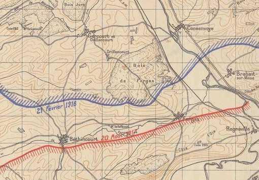 Schémas des fronts successifs - Verdun • Crédits : IGN - mission du centenaire