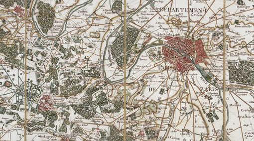 Feuille de Paris de la carte Cassini • Crédits : Département des cartes et plans de la BNF
