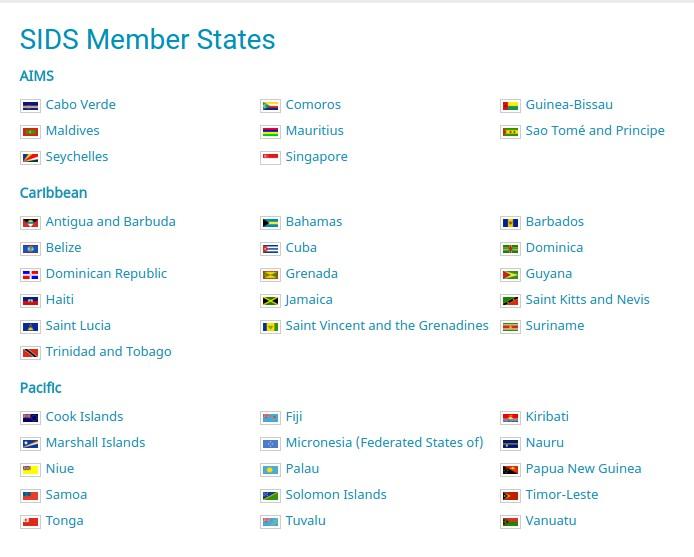 Etats membres des PEID