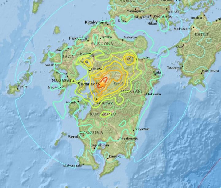 Localisation séisme 15 avril 2016 (UTC) Source : USGS
