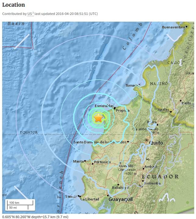 Séisme Equateur le 20 avril 2016 magnitude 6.1sur la côte