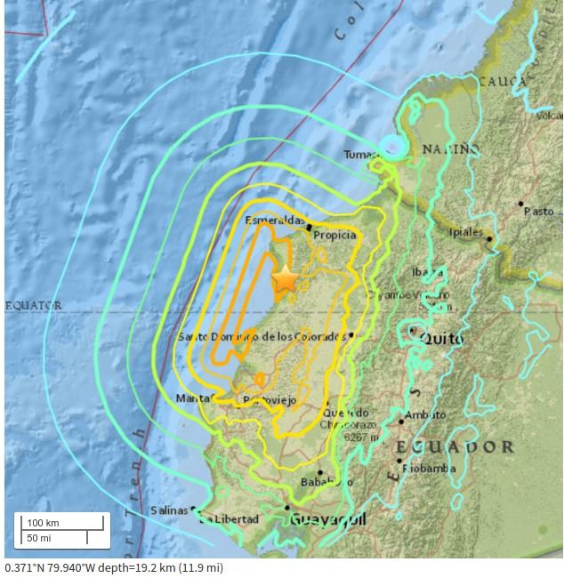 Localisation séisme Equateur - 16/04/2016 - USGS