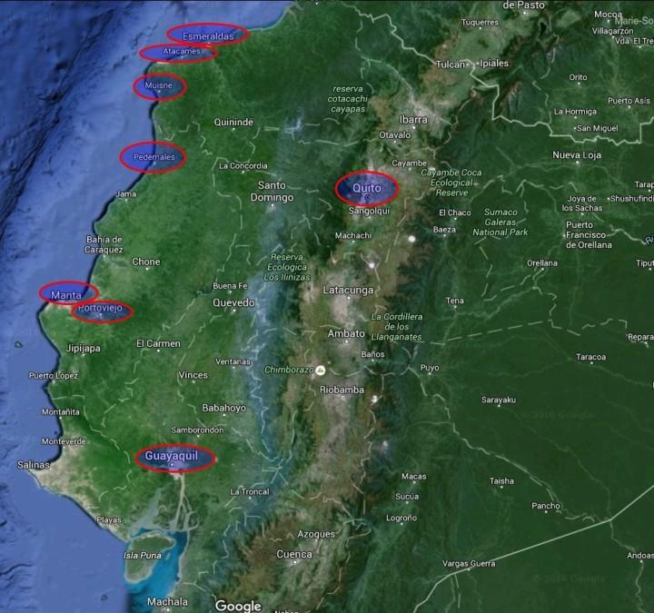 Localisation des lieux les plus touchés par le séisme