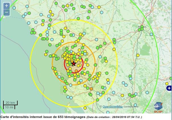 Séisme 5.2 La Rochelle France Source : BCSF