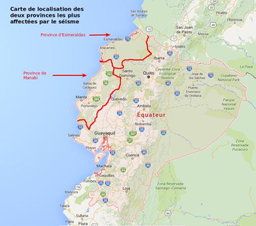 Carte de localisation des deux provinces les plus touchées par le séisme - Fonds de carte Google Maps _ Cartographie Marie-Sophie Bock-Digne (Planète Vivante) 6 mai 2016