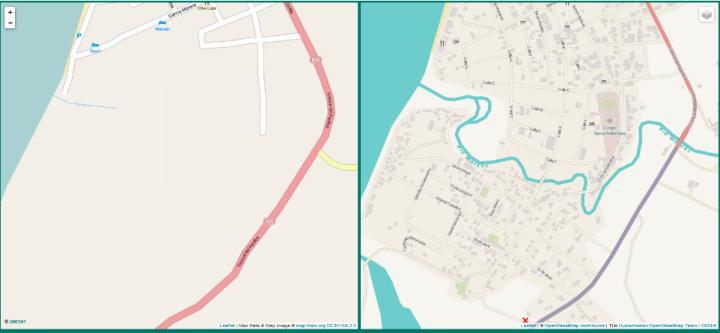 Pedernales (Equateur) - Province de Manabi - à gauche cartographie avant séisme, à droite cartographie après séisme OpenStreetMap