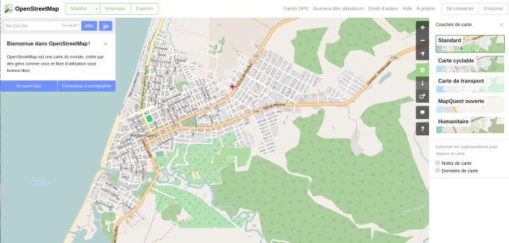 Cartographie de Pedernales (détail) sur OpenStreetMap