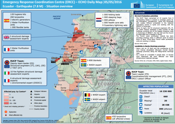 Emergency Response Coordination Centre (ERCC) – ECHO Daily Map│05/05/2016 Ecuador - Earthquake (7.8 M) - Situation overview
