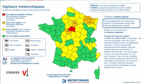 Carte de vigilance pluie-inondations de Météo France/Vigicrues