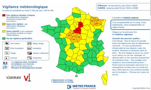Carte de vigilance météorologique 01/06/2016 à 16h jusqu'au 02/06/2016 à 16h. Source Météo France