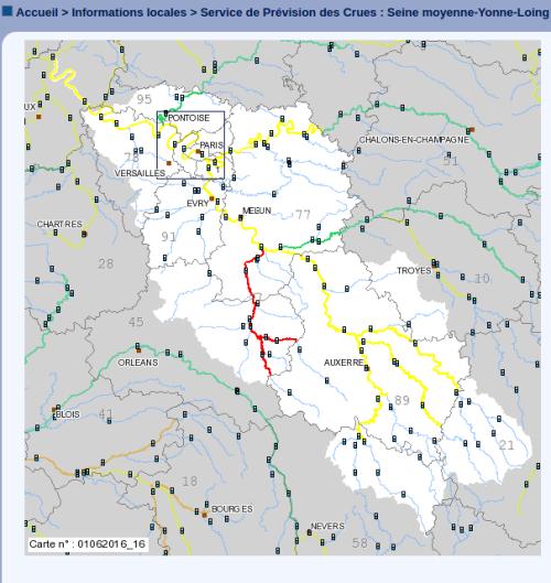 Carte du Service de Prévision des Crues : Seine moyenne-Yonne-Loing. Actualisation le mercredi 01 juin 2016 à 23h20, source VIGICRUES