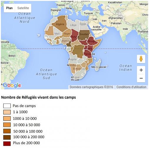 carte répertorie les camps de réfugiés présents en Afrique. Les pays sont classés par nombre de réfugiés vivant dans les camps - Source HCR
