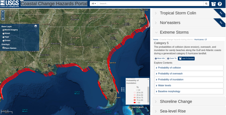 "Carte interactive ""USGS Coastal Change Hazards Portal"""