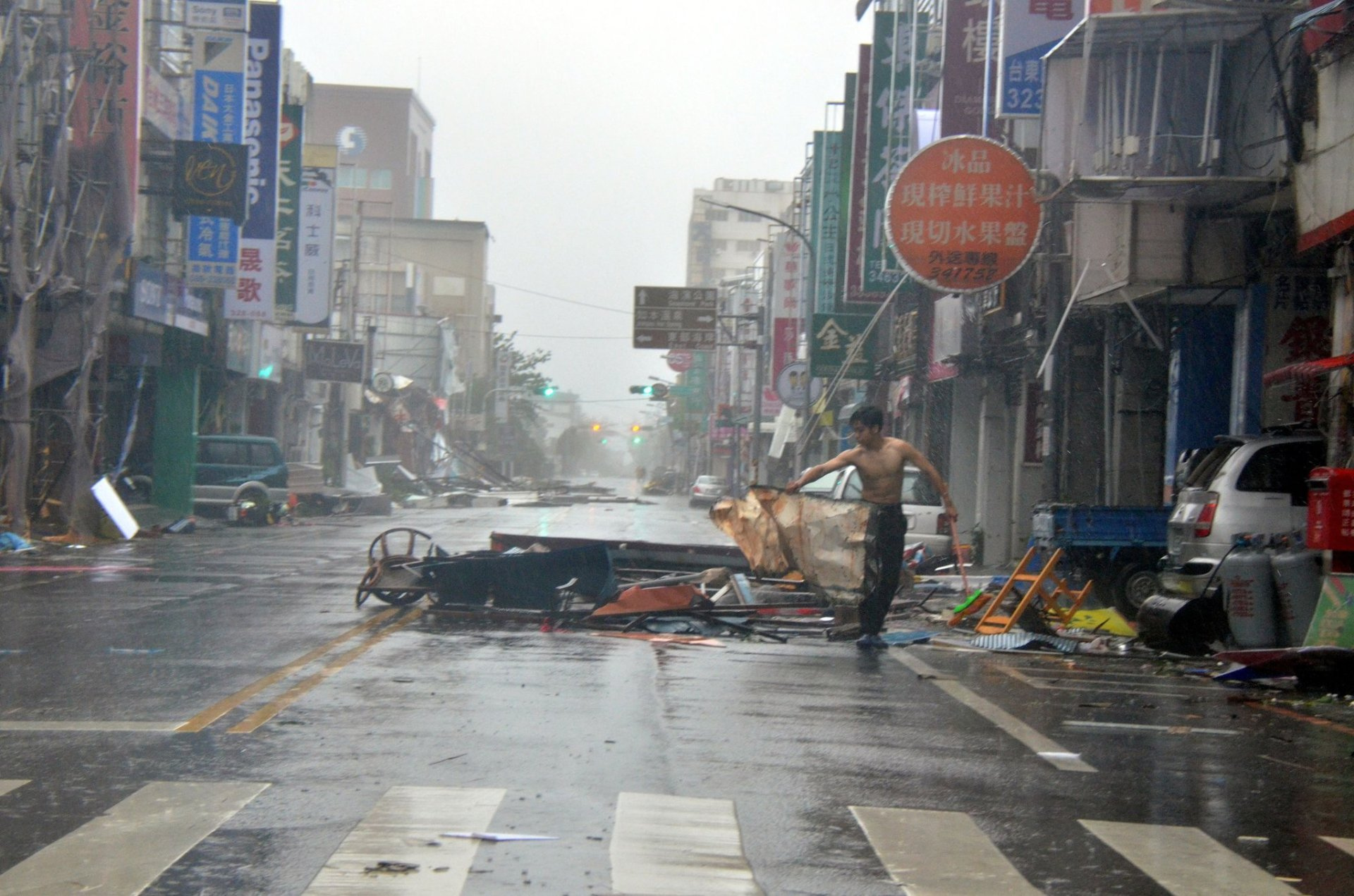 A street in Taitung, Taiwan, on Friday after Typhoon Nepartak tore through. Credit Agence France-Presse — Getty Images