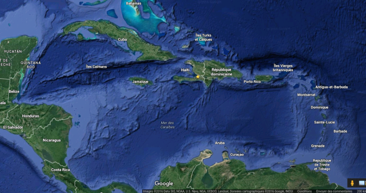 Carte de situation de la zone caraïbe - Google Maps