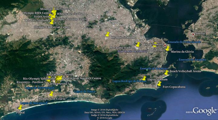 Copie d'écran sur Google Earth de la localisation de l'ensemble des sites olympiques de Rio de Janeiro