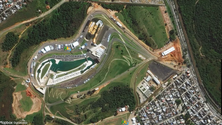Olympic Whitewater Stadium - MapBox, OpenStreetMap &DigitalGlobe
