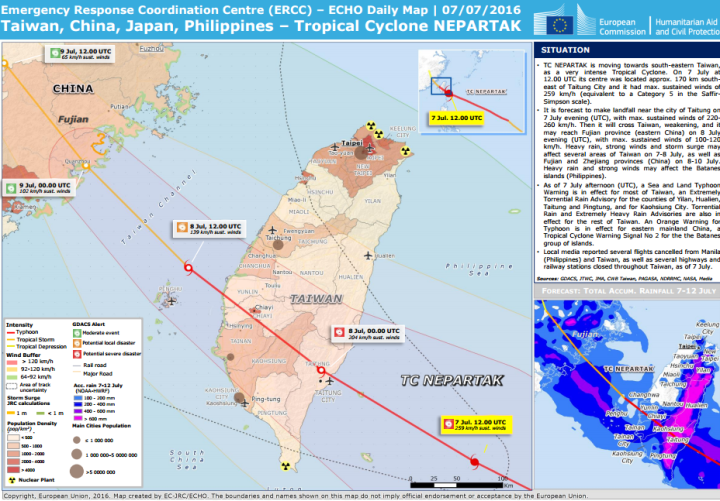 Taiwan, China, Japan, Philippines - Tropical Cyclone Nepartak - ECHO Daily Map | 07/07/2016
