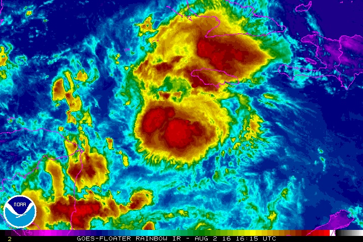 Infrared satellite image of Tropical Storm Earl at 1615Z (12:15 pm EDT) Tuesday, August 2, 2016. Image credit: NOAA/NESDIS.