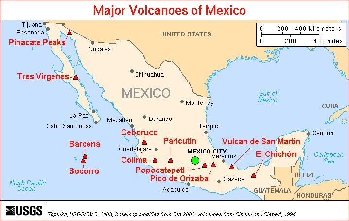 Carte des grands volcans du Mexique - Source USGS - 2013